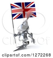 Clipart Of A 3d Medieval Knight Walking To The Right With A British Flag Royalty Free Illustration