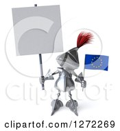 Clipart Of A 3d Medieval Knight Holding Up A Blank Sign And Small Europe Flag Royalty Free Illustration