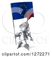 Clipart Of A 3d Medieval Knight Holding Up A Europe Flag Royalty Free Illustration
