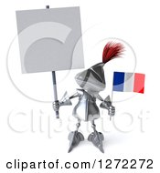 Clipart Of A 3d Medieval Knight Holding Up A Blank Sign And Small French Flag Royalty Free Illustration