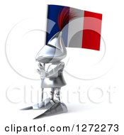 Clipart Of A 3d Medieval Knight Facing Left And Holding A French Flag Royalty Free Illustration