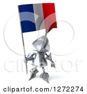 Clipart Of A 3d Medieval Knight Holding Up A French Flag Royalty Free Illustration