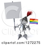 Clipart Of A 3d Medieval Knight Holding Up A Blank Sign And A Small Rainbow Flag Royalty Free Illustration