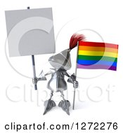 Clipart Of A 3d Medieval Knight Holding Up A Blank Sign And A Rainbow Flag Royalty Free Illustration