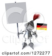 Clipart Of A 3d Medieval Knight Holding A Blank Sign And Small German Flag Royalty Free Illustration