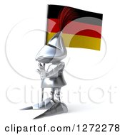 Clipart Of A 3d Medieval Knight Gesturing Stop And Facing Left With A German Flag Royalty Free Illustration