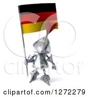 Clipart Of A 3d Medieval Knight Holding A German Flag Royalty Free Illustration