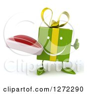 Clipart Of A 3d Happy Green Gift Character Holding A Thumb Up And Steak Royalty Free Illustration
