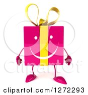 Clipart Of A 3d Pink Gift Character Royalty Free Illustration by Julos