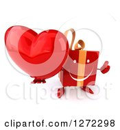 Clipart Of A 3d Red Gift Character Holding Up A Thumb And A Heart Royalty Free Illustration