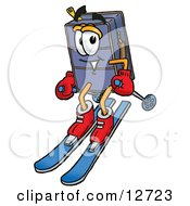 Suitcase Cartoon Character Skiing Downhill