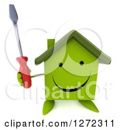 Clipart Of A 3d Happy Green House Character Holding Up A Screwdriver Royalty Free Illustration