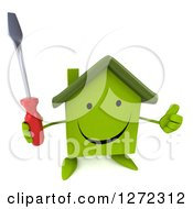 Clipart Of A 3d Happy Green House Character Holding Up A Screwdriver And A Thumb Royalty Free Illustration