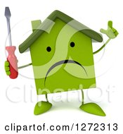 Clipart Of A 3d Unhappy Green House Character Holding Up A Finger And Screwdriver Royalty Free Illustration