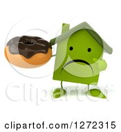 Clipart Of A 3d Unhappy Green House Character Holding And Pointing To A Chocolate Frosted Donut Royalty Free Illustration