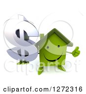 Clipart Of A 3d Happy Green House Character Holding Up A Thumb And A Dollar Symbol Royalty Free Illustration