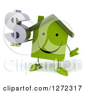 Clipart Of A 3d Happy Green House Character Shrugging And Holding A Dollar Symbol Royalty Free Illustration