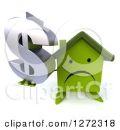 Clipart Of A 3d Unhappy Green House Character Holding Up A Dollar Symbol Royalty Free Illustration