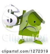 Clipart Of A 3d Unhappy Green House Character Holding And Pointing To A Dollar Symbol Royalty Free Illustration