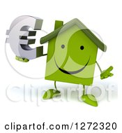 Clipart Of A 3d Happy Green House Character Shrugging And Holding A Euro Symbol Royalty Free Illustration