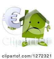 Clipart Of A 3d Happy Green House Character Giving A Thumb Down And Holding A Euro Symbol Royalty Free Illustration