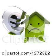 Clipart Of A 3d Unhappy Green House Character Holding Up A Euro Symbol Royalty Free Illustration