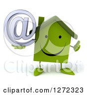 Clipart Of A 3d Happy Green House Character Holding A Thumb Up And Email Arobase Symbol Royalty Free Illustration