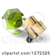 Clipart Of A 3d Unhappy Green House Character Facing Right And Moving Boxes On A Dolly Royalty Free Illustration