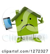 Clipart Of A 3d Happy Green House Character Holding Up A Finger And A Smart Phone Royalty Free Illustration
