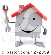 Clipart Of A 3d Happy White House Character Holding A Wrench Royalty Free Illustration