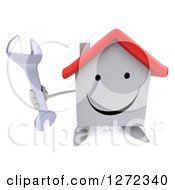 Clipart Of A 3d Happy White House Character Holding Up A Wrench Royalty Free Illustration