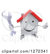 Clipart Of A 3d Happy White House Character Holding Up A Thumb And A Wrench Royalty Free Illustration