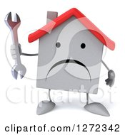 Clipart Of A 3d Unhappy White House Character Holding A Wrench Royalty Free Illustration