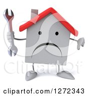 Clipart Of A 3d Unhappy White House Character Holding A Thumb Down And A Wrench Royalty Free Illustration