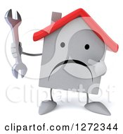 Clipart Of A 3d Unhappy White House Character Holding And Pointing To A Wrench Royalty Free Illustration