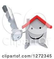 Clipart Of A 3d Happy White House Character Holding Up A Key Royalty Free Illustration