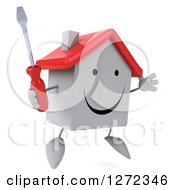 Clipart Of A 3d Happy White House Character Facing Slightly Right And Jumping With A Screwdriver Royalty Free Illustration