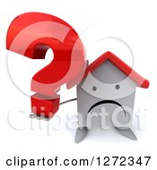 Clipart Of A 3d Unhappy White House Character Holding Up A Question Mark Royalty Free Illustration