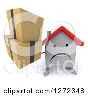 Clipart Of A 3d Unhappy White House Character Holding Up Boxes Royalty Free Illustration