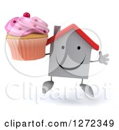 Clipart Of A 3d Unhappy White House Character Jumping With A Pink Frosted Cupcake Royalty Free Illustration