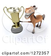 Clipart Of A 3d Brown Horse Holding Up A Trophy Royalty Free Illustration