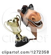 Clipart Of A 3d Brown Horse Wearing Sunglasses And Holding A Trophy Around A Sign Royalty Free Illustration