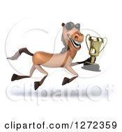 Clipart Of A 3d Brown Horse Wearing Sunglasses And Running With A Trophy Royalty Free Illustration