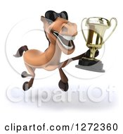 Clipart Of A 3d Brown Horse Wearing Sunglasses And Running With A Trophy 2 Royalty Free Illustration