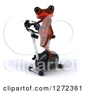 Clipart Of A 3d Red Springer Frog Exercising On A Stationary Bike 3 Royalty Free Illustration