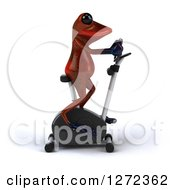 Clipart Of A 3d Red Springer Frog Exercising On A Stationary Bike Royalty Free Illustration