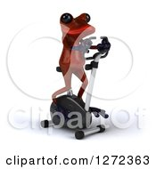 Clipart Of A 3d Red Springer Frog Exercising On A Stationary Bike 2 Royalty Free Illustration
