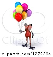 Clipart Of A 3d Red Frog Holding Party Balloons Royalty Free Illustration