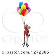 Clipart Of A 3d Red Frog Floating With Party Balloons Royalty Free Illustration