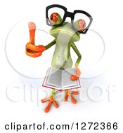 Clipart Of A 3d Bespectacled Green Springer Frog Giving A Thumb Up And Reading A Book Royalty Free Illustration